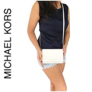 NWT authentic MK leather crossbody white